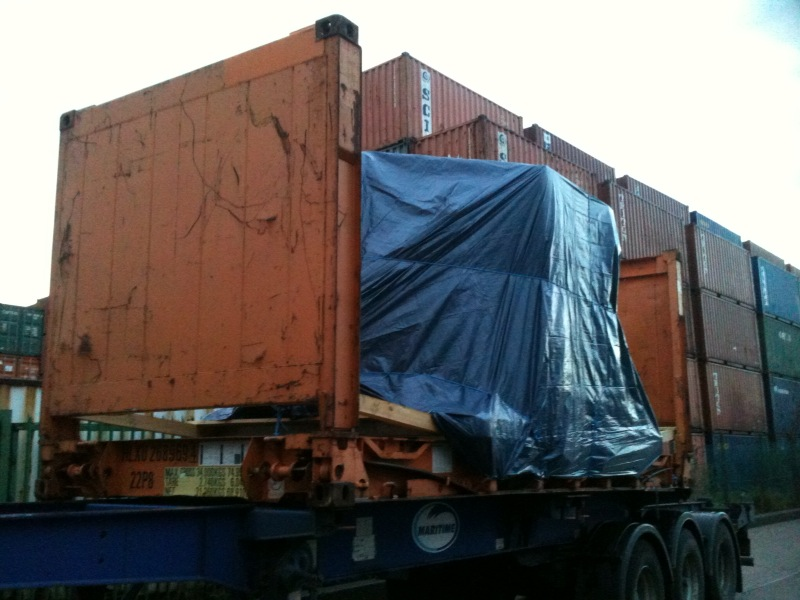 gas filtration equipment en route to Chile on a 20 ft flat rack