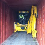 JCB digger fit into a 40' High Cube container for transport to mozambique