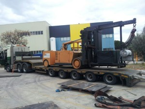 moving a giant forklift from Barcelona to the UK